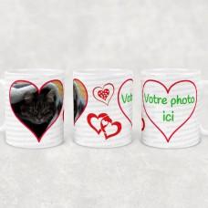 Tasse avec coeurs et photos à personnaliser